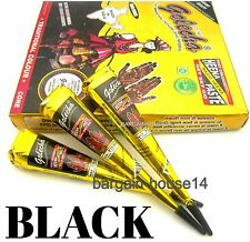 FRESH!! BOX OF 12 BLACK HENNA INDIAN ARABIC HENNA MEHANDI TATTOO CONES QUICK DRY