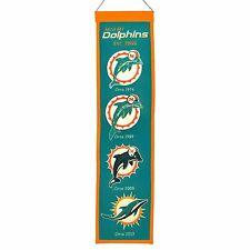 "Miami Dolphins Embroidered Wool Heritage 32"" Banner Pennant"