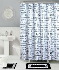 15PC BLACK WHITE LOVE BATHROOM SET BATH MAT SHOWER CURTAIN METAL ROLLER HOOKS