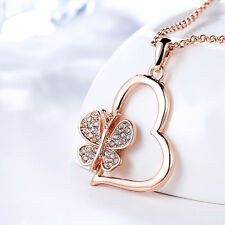 Chic Heart Buttfly Crystal Pendant Chain Necklace Jewelry Valentine's Day Gifts