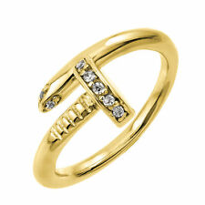 925 Sterling Silver Yellow Gold Plated nail ring W/diamonds//NEW DESIGN!! SZ 5-9