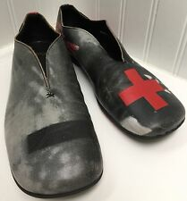 CAMPER Women's Plus Minus Signs Black Gray Red Leather Slip On Loafers Sz 39