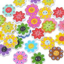50Pcs Wooden Buttons Colorful Mixed Flower Scrapbook Sewing DIY Craft 2 Holes AA