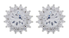 CLIP ON EARRINGS - silver plated luxury stud with clear crystals & stone - Ali