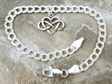 Sterling Silver Infinity Heart Charm on a Double Link Charm Bracelet-1419