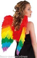 Femmes Arc-en-ciel Perroquet Plume Oiseau Ailes Multi Costume Déguisement