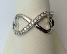 Real Diamonds Infinity Hearts Fashion Right Hand Ring Sterling Silver Promise