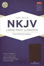 NKJV Large Print Ultrathin Reference Bible, Brown Genuine Cowhide (2014,...