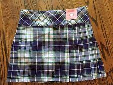Gymboree DANCE TEAM NWT 8 Purple/green plaid sidepleated skort