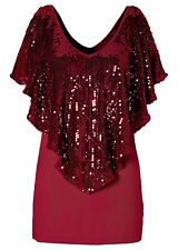 Fashion Womens Vest Top With Sequin Overlay Batwing Cape Sleeve Blause T-Shirts