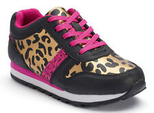 Juicy Couture Girl's Black Leopard Maryel Print & Pink Glitter Sneakers S-5M NEW