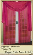 3 Piece Pink Color Sheer Voile Elegant Curtain Panel Set: 2 Panels and 1 Scarf