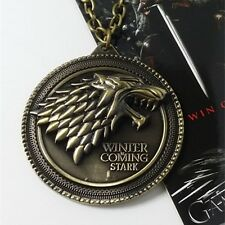 Game of Thrones House Stark Necklace Winter Is Coming Wolf Head Metal Necklace