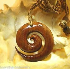 38.5 Carved Genuine Hawaiian Koa Wood Maori Koru Eternal Friendship Necklace 26""