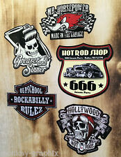 5er Oldschool Aufkleber Set Horsepower Rockabilly Greaser Sticker USA Skull