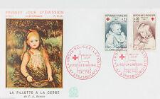 ENVELOPPE PREMIER JOUR - 9 x 16,5 cm - ANNEE 1965 - CROIX-ROUGE RENOIR