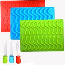 Gummy Snake Worms Mold Maker Homemade Chocolate Candy Worm Molds Silicone Set
