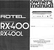 Rotel RX-400L Receiver Owners Manual