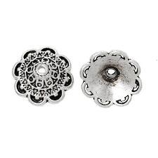 10x tapas de perlas perlkappen remates flores para 14mm perlas Antik plata