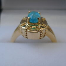 0.78ct Neon Blue Brazilian Paraiba Tourmaline Gold Ring