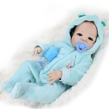 "Lifelike Reborn Baby Boy Doll Full Body Silicone 22""Dolls Blue Clothes + Bottle"