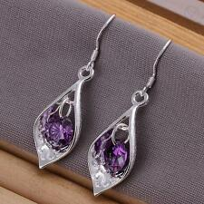925 Sterling Silver Plated Pair of dangly/dangle/drop/ Amethyst Hook Earrings