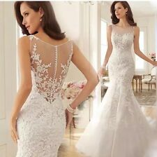 UK Sexy Off White Lace Mermaid Wedding Dress Bridal  Gown Size 6-16