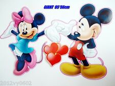 Nouveau Disney Mickey Mouse Minnie autocollant mural chambre L grand 85 x 53 cm
