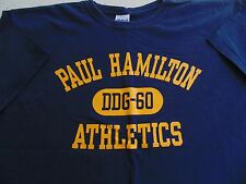 USN US NAVY SHIP USS PAUL HAMILTON DDG60 CREW'S BLUE ATHLETIC PT S/S T-SHIRT XL