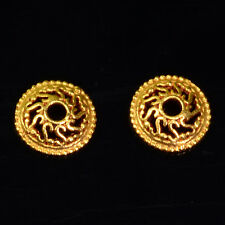 8mm 18k Solid Yellow Gold Fancy Bead Cap Finding PAIR