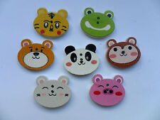 50 pcs Cute Animal Patterned Wood Scrapbooking // Sewing Buttons 20mm