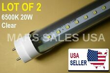 """G13 4FT 20W 6500K CLEAR T8 48"""" LED Tube Light Fluorescent Replacement LOT OF 2"""