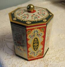 Decorative Metal Tin Container with Lid Made in Western Germany