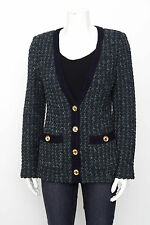 ST. JOHN Navy Blue Green Marled Knit Gold Button Sweater Jacket Cardigan S