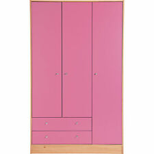 3 Door 2 Drawer Malibu Cupboard Wardrobe Chest Bedroom Furniture Draws Pink NEW