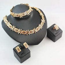 Women Rhinestone Totem Dubai Wedding Necklace Gold Plated Jewelry Sets