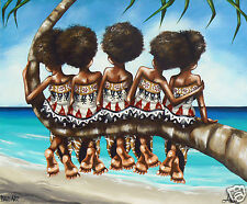 Fiji Art Painting Palm Tree Pals By Andy Baker Print Canvas 800mm Large