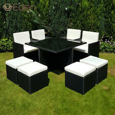 8-Seater Black Rattan Cube Dining Glass-Table/Chair Set Garden/Outdoor Furniture