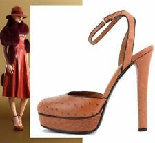 $1,400 RUNWAY GUCCI SHOES OSTRICH LEATHER 'HUSTON' MARY JANE PLATFORM HEELS 38.5
