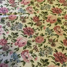 "Waverly Quaker Lady Bonded Fabric Pink Roses Cream 48"" x 53"" Vtg Cottage"