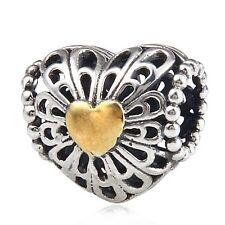 Corazón Calado De Amor Genuino 925 plata encanto grano ajuste pulsera Europea