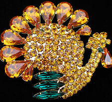 "RHINESTONE CORNUCOPIA FALL THANKSGIVING TURKEY BIRD PIN BROOCH JEWELRY 2"" $65.00"