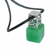 Genuine 925 Sterling Silver Green Jade Square Bottle Shape Pendant Necklace Real