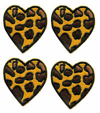 "Lot 4Pcs 1-1/2"" Leopard Print Heart Embroidery Iron On Applique Patch"