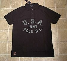 Custom Fit (XL) POLO-RALPH LAUREN Black USA Mesh Polo Shirt