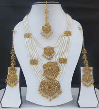 Indian Bollywood Ranihaar Gold Plated Bridal Fashion Jewelry Necklace Long Set