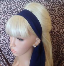 Phenomenal Plain Navy Cotton Fabric Head Scarf Hair Band Self Tie Bow 50 S 60 Hairstyle Inspiration Daily Dogsangcom
