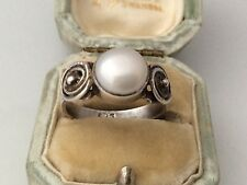 Vintage Jewellery Sterling Silver And Real Pearl Ladies Ring Size 'N'