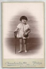 1929 Dated Cabinet Card Girl with Fishing Tackle Chamberlin Paris Children Sepia