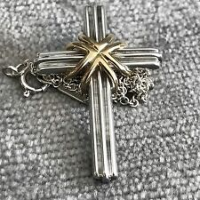 Tiffany Silver Gold Cross Necklace